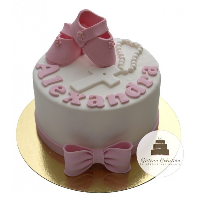 G teau baby bapt me existe en bleu ou rose g teau cr ation courbevoie paris - Decoration gateau bapteme fille ...