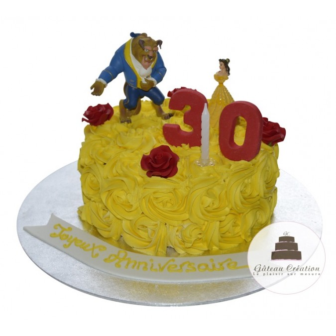 G teau d 39 anniversaire rosace belle et la b te g teau cr ation courbevoie paris - Gateau anniversaire adulte photo ...