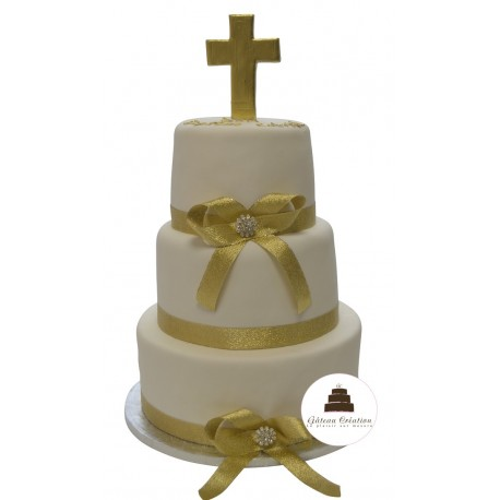 Pièce montée Communion Cross - wedding cake