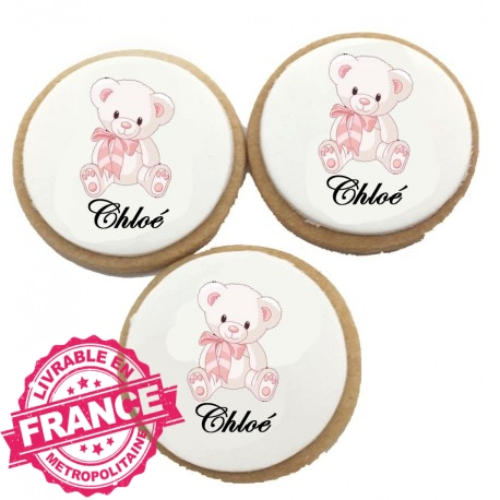 Biscuits Anniversaire Ourson rose