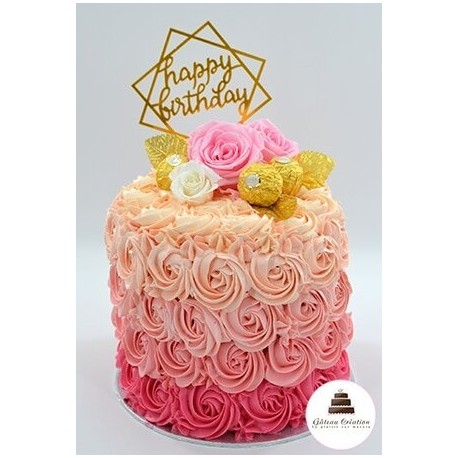Gâteau d'anniversaire rosace cake girly