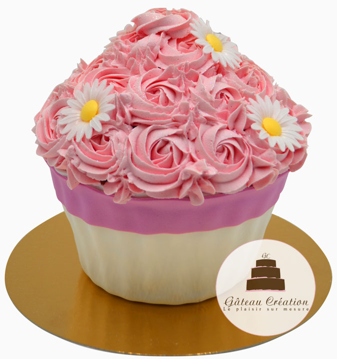 cup cake géant rose