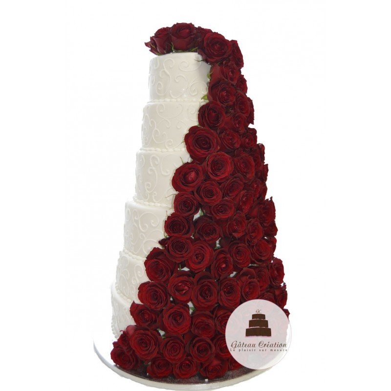 wedding cake cascade de rose