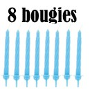 8 bougies bleues
